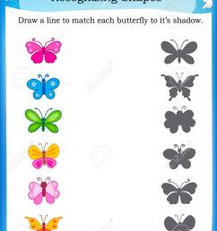 Worksheet Recognizing Shapes   Draw A Line To Match Butterflies.. Royalty  Free Cliparts [ 1300 x 1011 Pixel ]