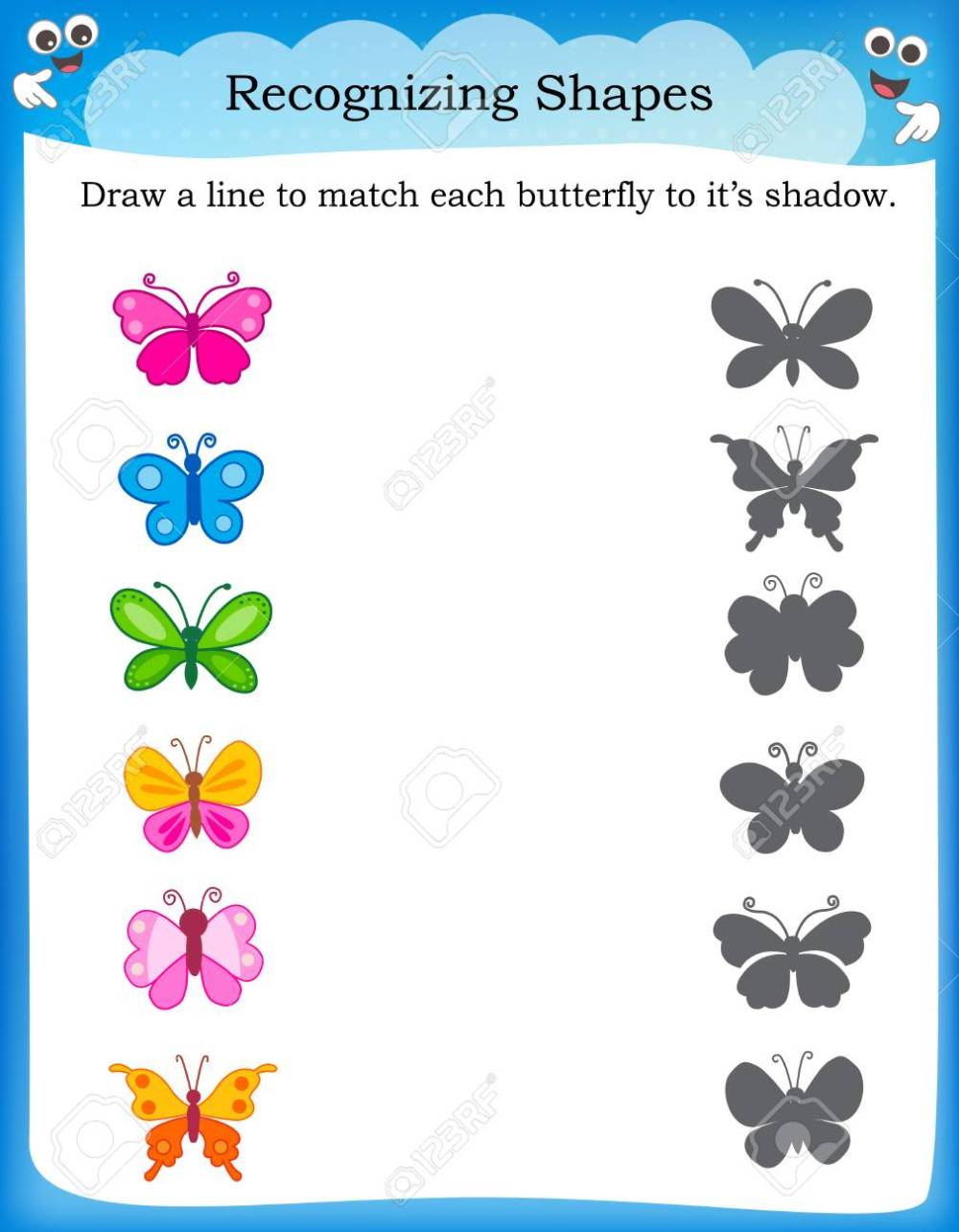 medium resolution of Worksheet Recognizing Shapes   Draw A Line To Match Butterflies.. Royalty  Free Cliparts
