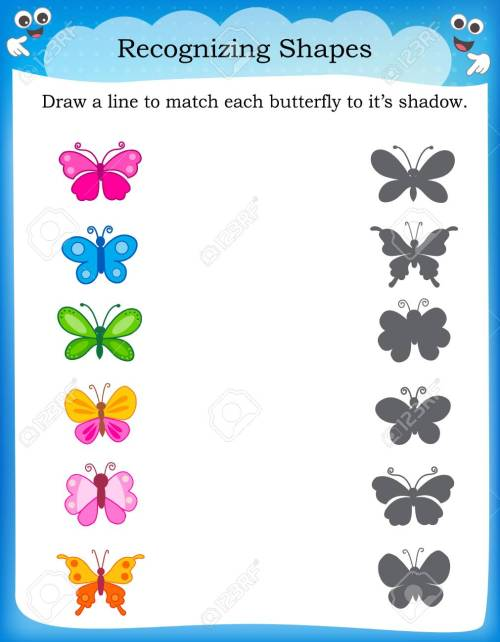 small resolution of Worksheet Recognizing Shapes   Draw A Line To Match Butterflies.. Royalty  Free Cliparts