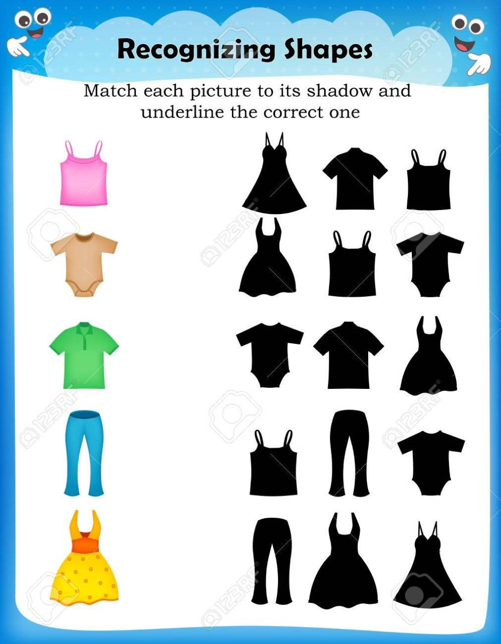 medium resolution of Worksheet Match Picture With Their Correct Shadow Royalty Free Cliparts