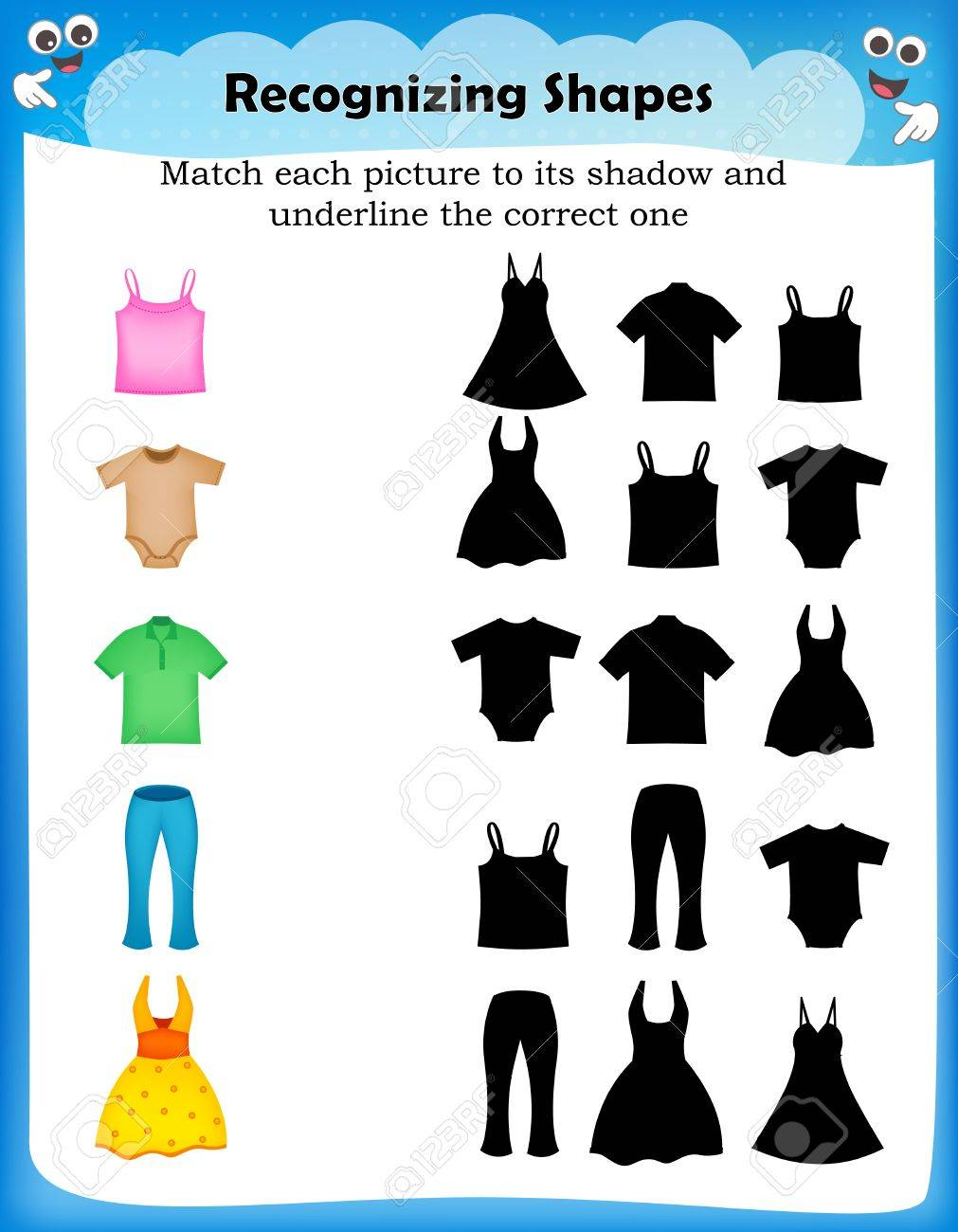 hight resolution of Worksheet Match Picture With Their Correct Shadow Royalty Free Cliparts