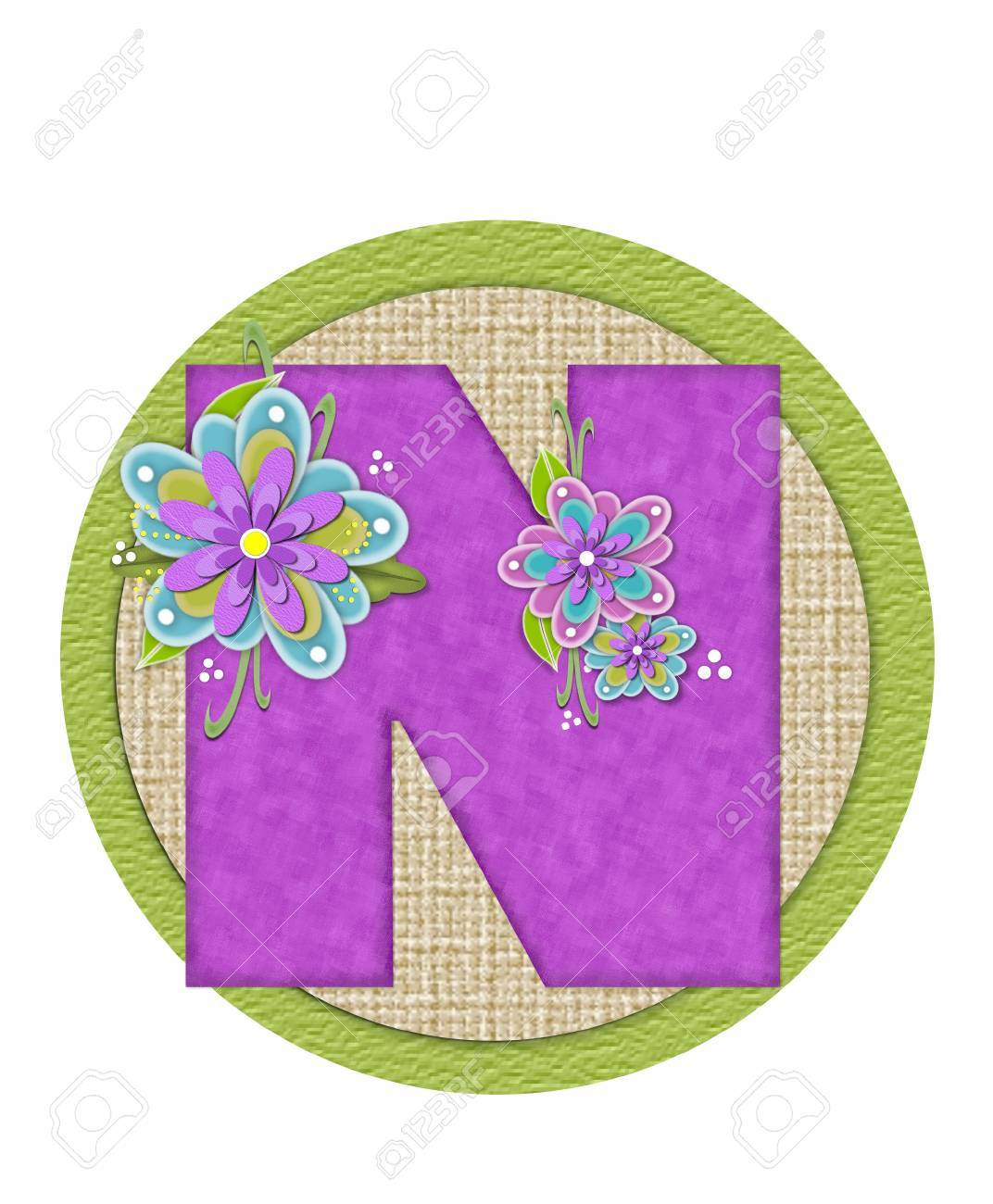 hight resolution of imagens the letter n in the alphabet set backyard bouquet is lilac and decorated with layered flowers in blue and lilac