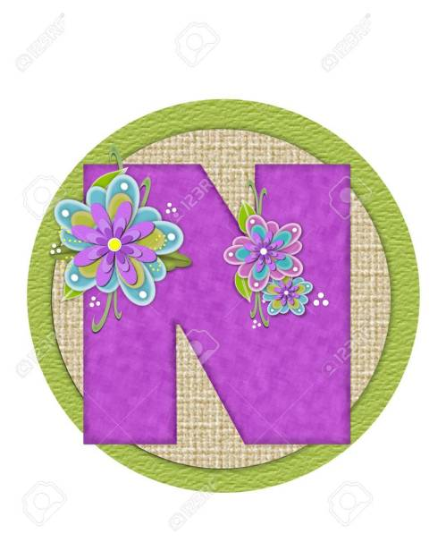 small resolution of imagens the letter n in the alphabet set backyard bouquet is lilac and decorated with layered flowers in blue and lilac