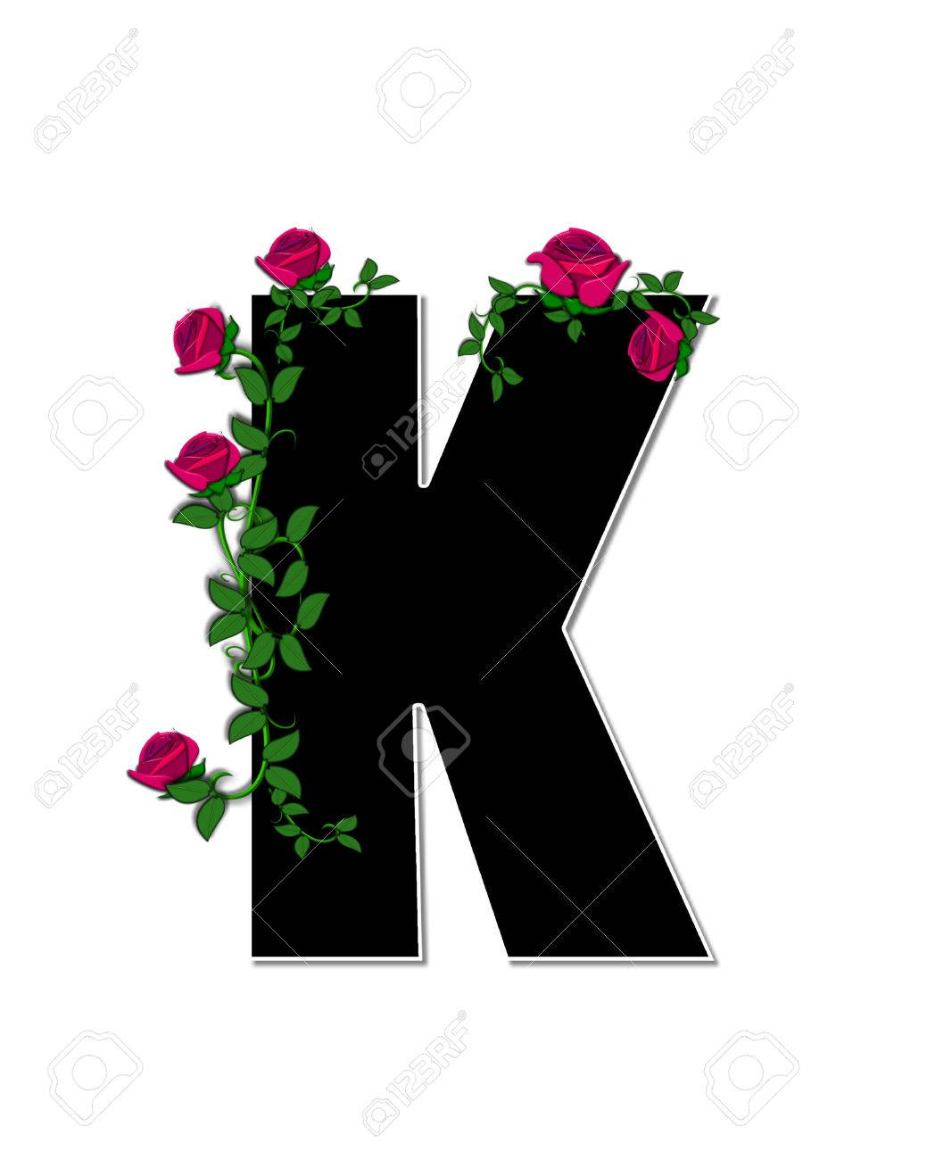 The Letter K In The Alphabet Set Rose Trellis Is Black With Stock Photo Picture And Royalty Free Image Image 62924727