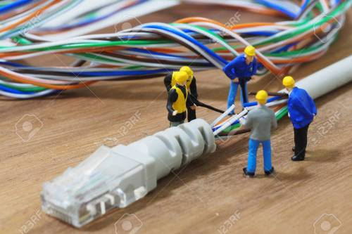 small resolution of group of engineer workers are repair lan network connection ethernet rj45 cable stock photo 63699415