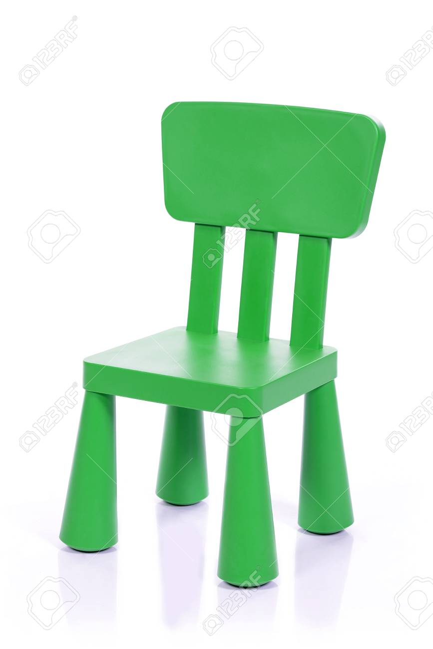 toddler plastic chairs office without wheels and arms green children chair isolated on white background stock photo 44187075