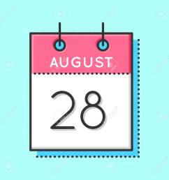 vector vector calendar icon flat and thin line vector illustration calendar sheet on light blue background august 28th [ 1300 x 1300 Pixel ]