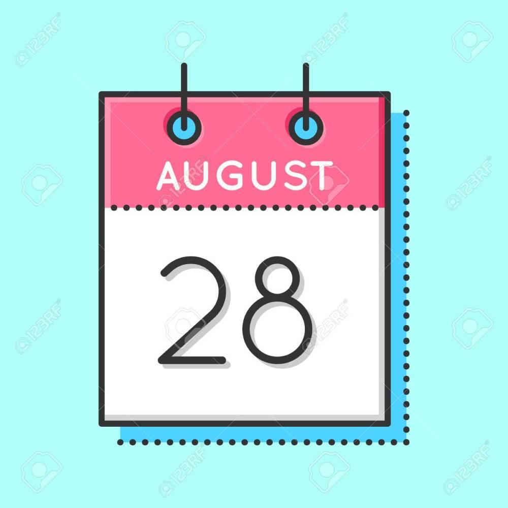 medium resolution of vector vector calendar icon flat and thin line vector illustration calendar sheet on light blue background august 28th