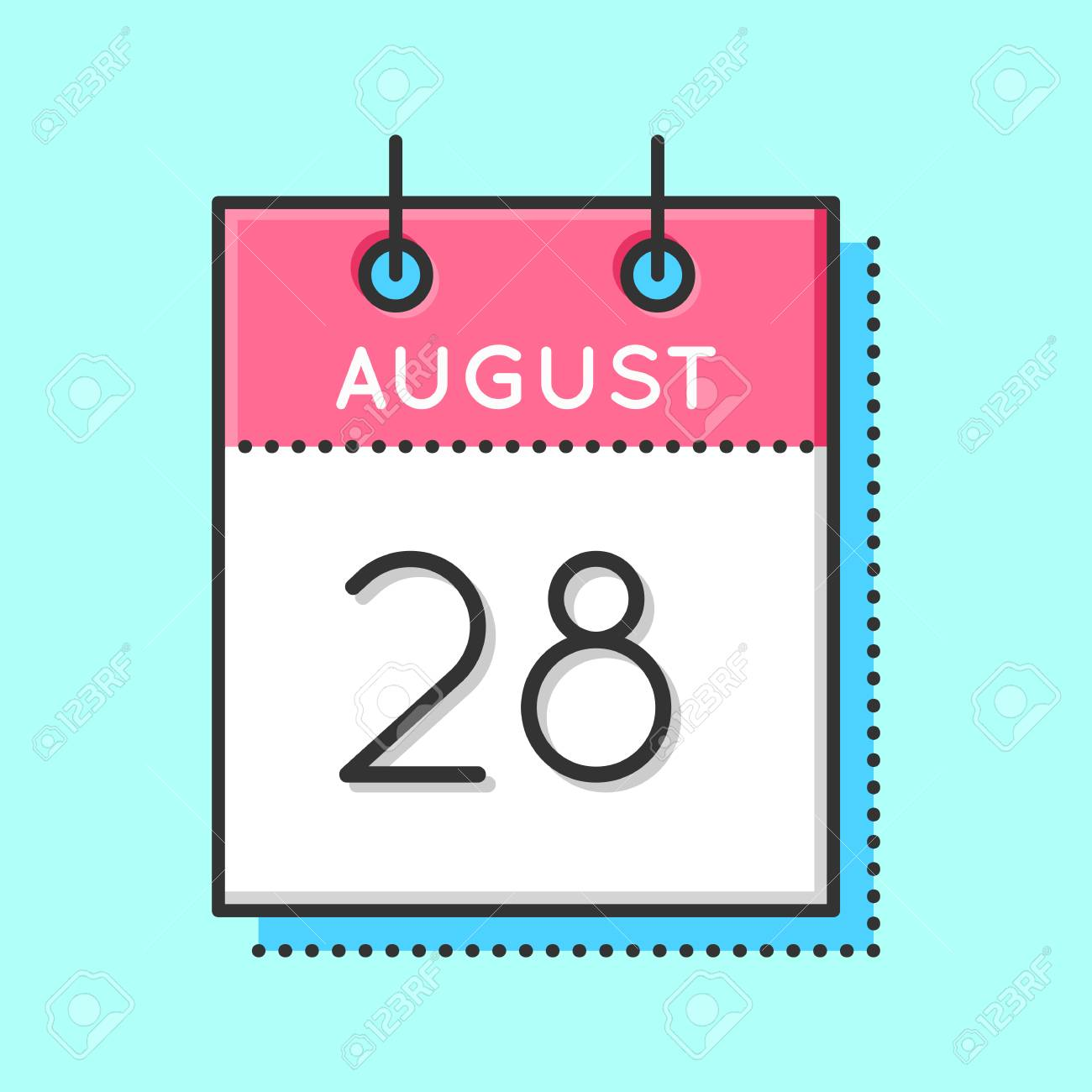 hight resolution of vector vector calendar icon flat and thin line vector illustration calendar sheet on light blue background august 28th