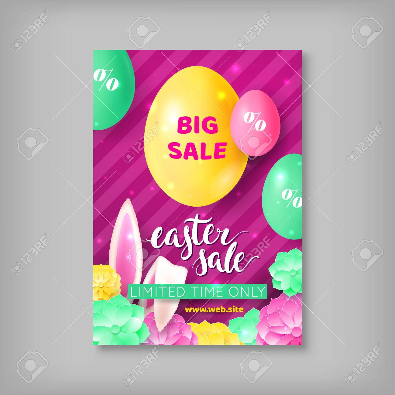Easter Sale Flyer Template With Colorful Eggs And Rabbit Ears, Isolated On  Gray Background.