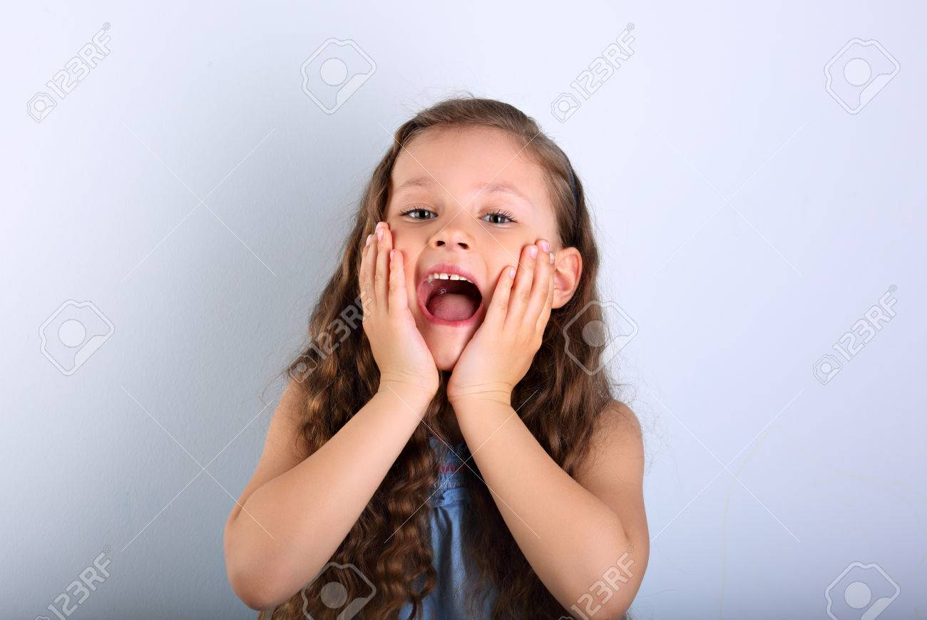 excited surprising kid girl