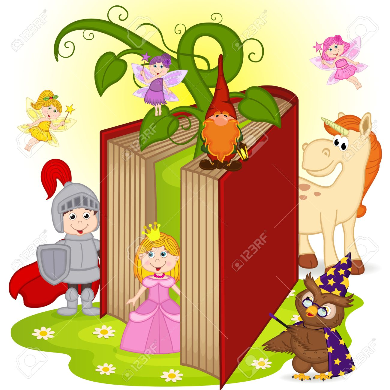 hight resolution of book with characters from fairy tales stock vector 58942512