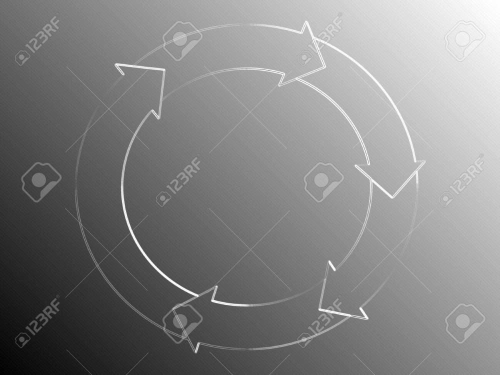 medium resolution of silver background with circle arrows diagram of white light of a system flow stock photo