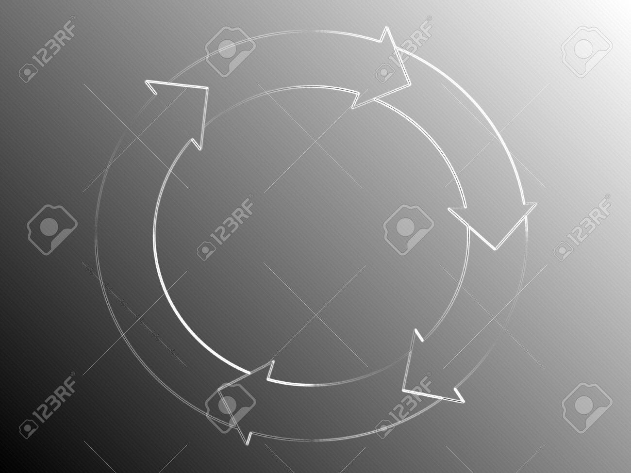 hight resolution of silver background with circle arrows diagram of white light of a system flow stock photo