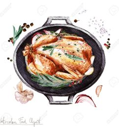 stock photo watercolor food clipart chicken in a cooking pot [ 1300 x 1300 Pixel ]