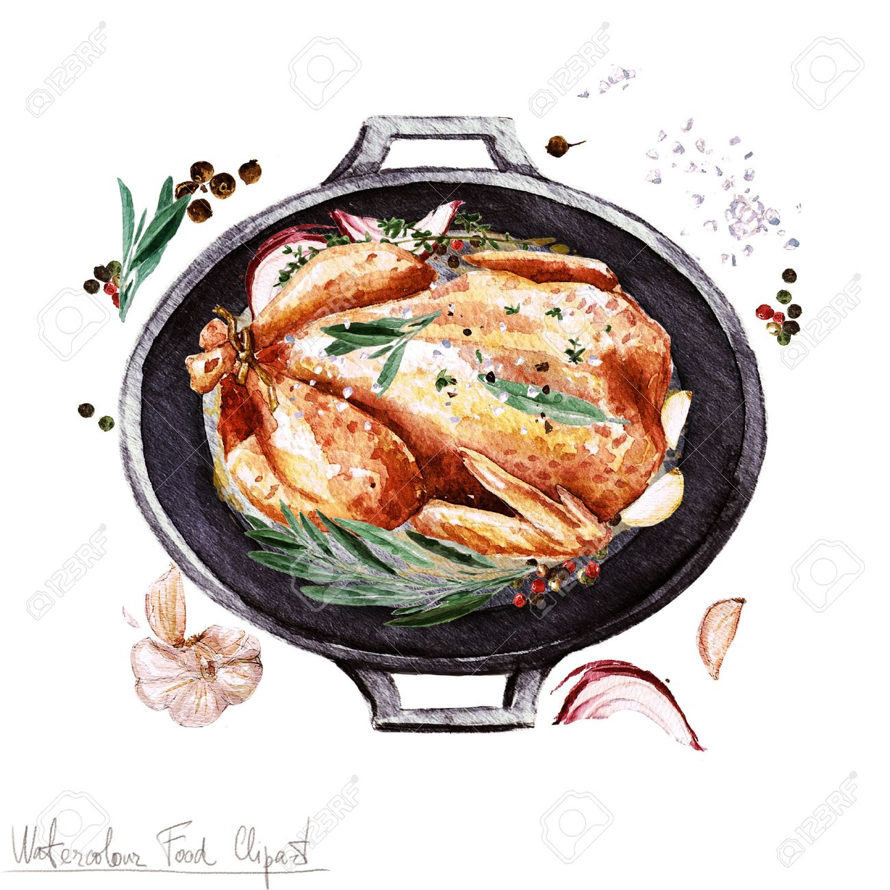 hight resolution of stock photo watercolor food clipart chicken in a cooking pot