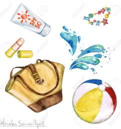 watercolor summer clipart bag sunscreen beach ball stock photo 56638801 [ 1300 x 1300 Pixel ]