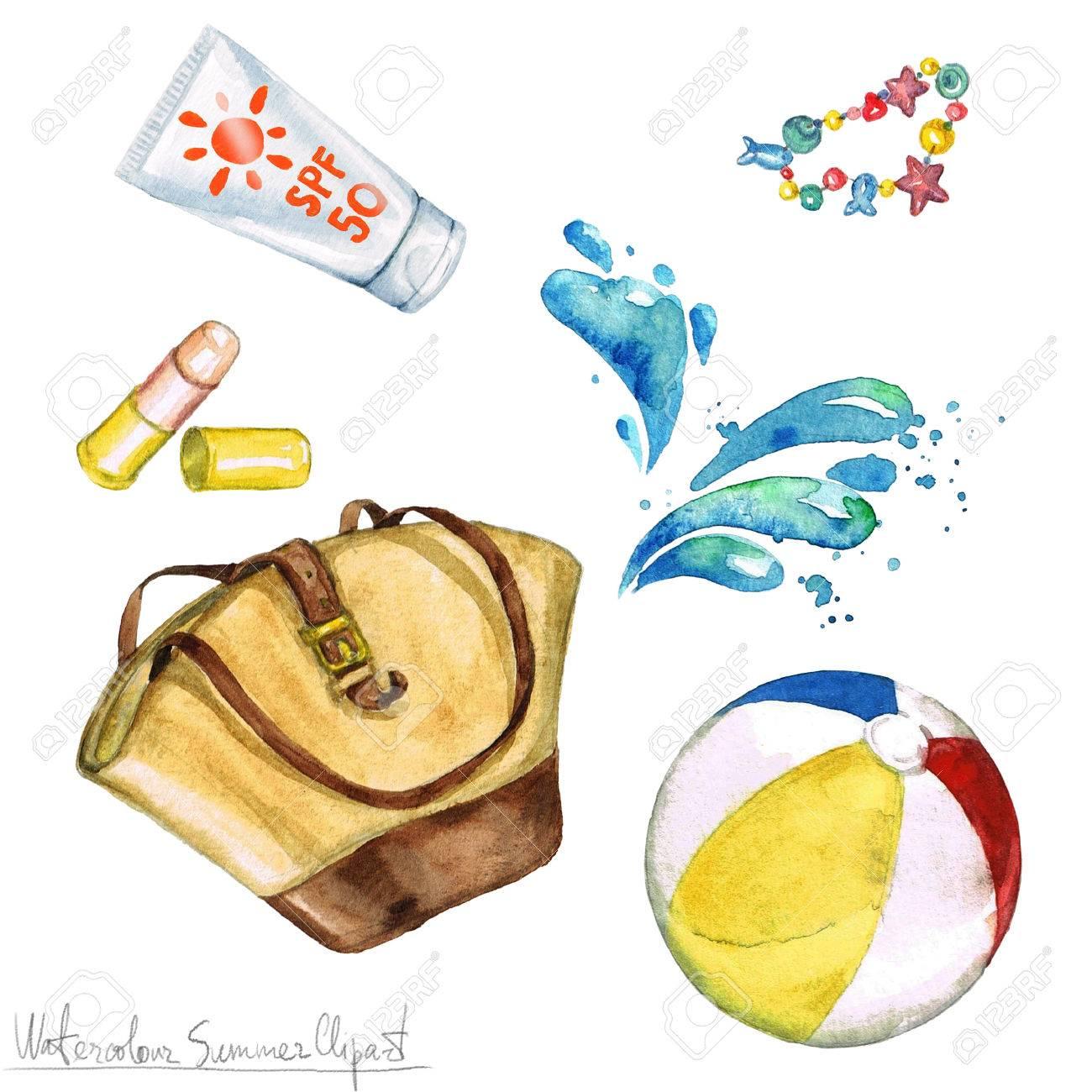 hight resolution of watercolor summer clipart bag sunscreen beach ball stock photo 56638801