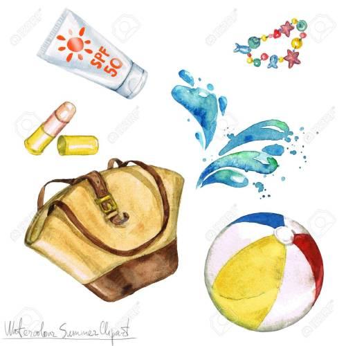 small resolution of watercolor summer clipart bag sunscreen beach ball stock photo 56638801