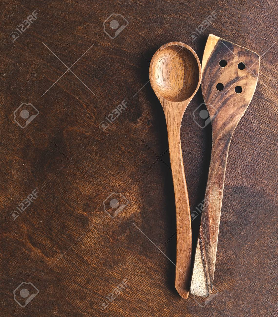 kitchen wooden utensils menards sinks over vintage background with copy space top view spoon and