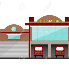 fire station building in flat design isolated object on white background stock vector  [ 1300 x 1083 Pixel ]