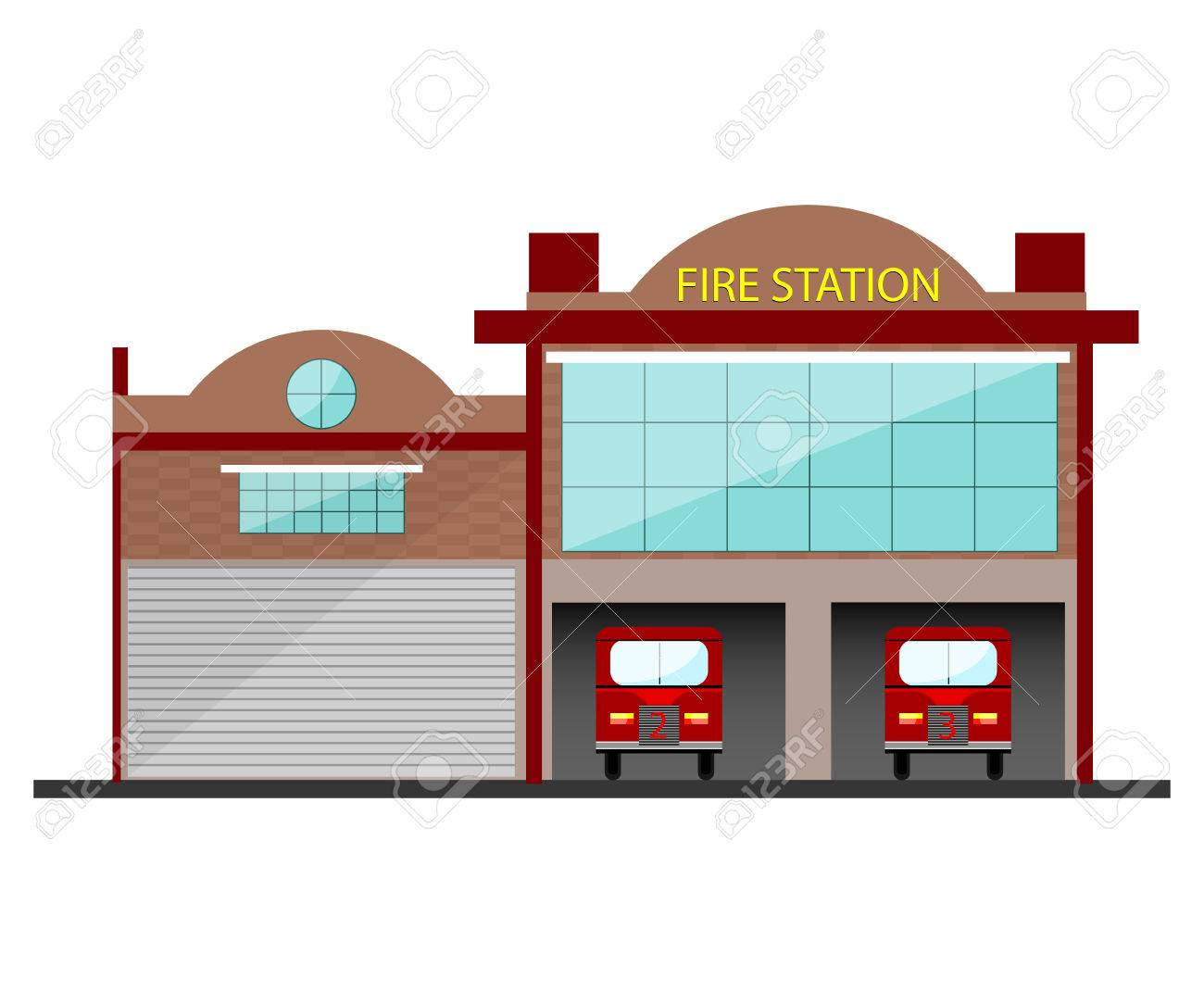 hight resolution of fire station building in flat design isolated object on white background stock vector