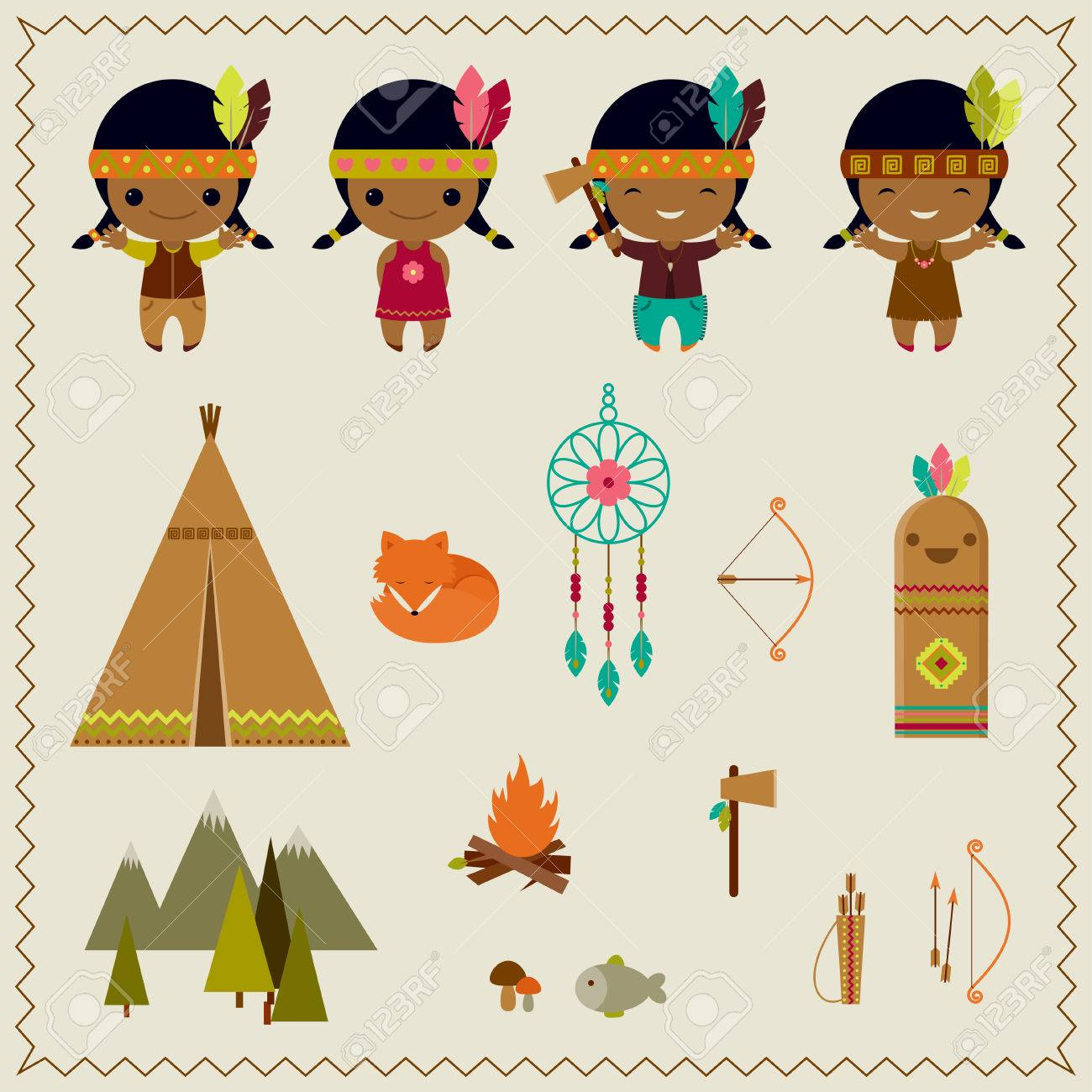 hight resolution of american indian clipart icons design stock vector 27945537