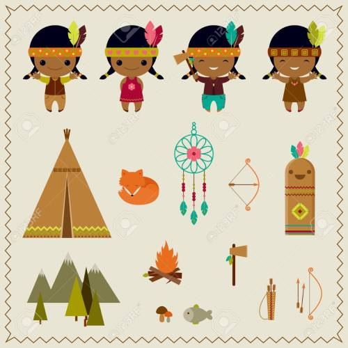 small resolution of american indian clipart icons design stock vector 27945537