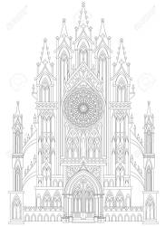 Fantasy Drawing Of Medieval Gothic Castle Black And White Page Royalty Free Cliparts Vectors And Stock Illustration Image 93653450