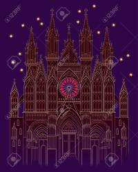 Illustration Of A Fantasy Medieval Gothic Castle At Night Time Royalty Free Cliparts Vectors And Stock Illustration Image 128272428