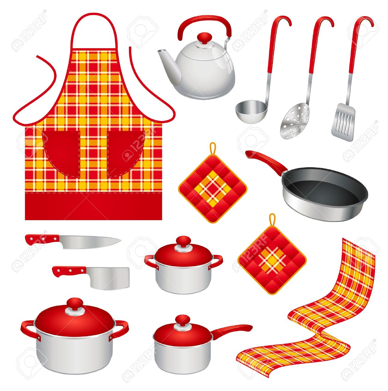 colorful kitchen accessories steam cleaner set of different utensils and royalty stock vector 11666861