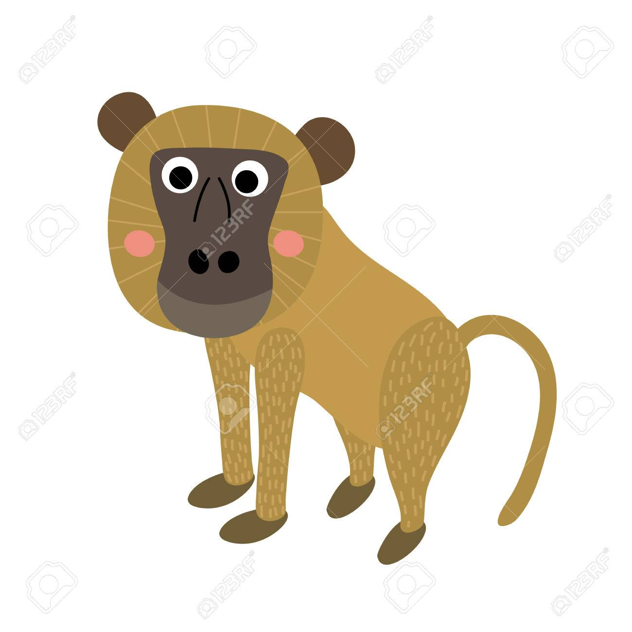 hight resolution of vector yellow baboon monkey animal cartoon character isolated on white background illustration