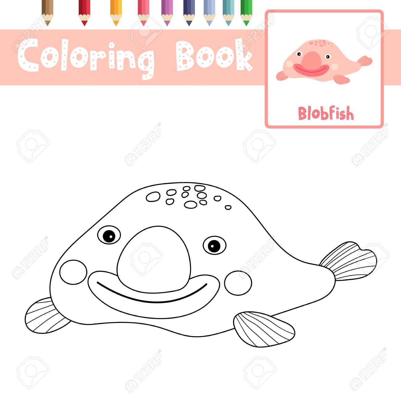 Coloring Page Of Happy Pink Blobfish Animals For Preschool Kids