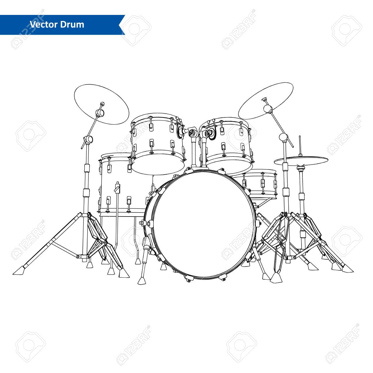 hight resolution of drum kit vector stock vector 48006613