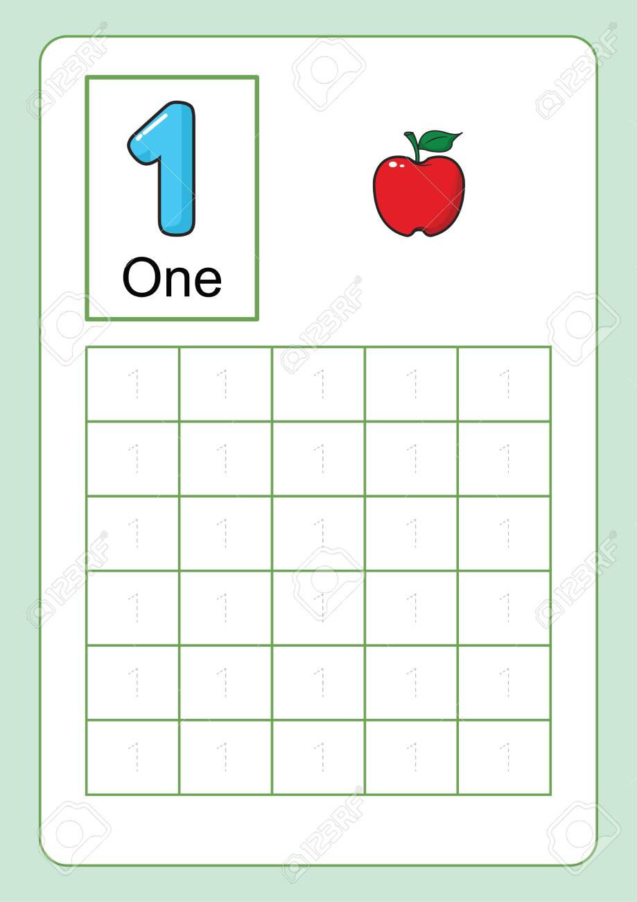 medium resolution of Number Tracing And Writing Tracing Worksheet For Kindergarten.. Royalty  Free Cliparts