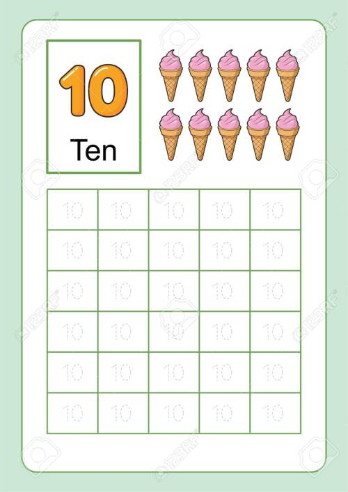 small resolution of Number Tracing And Writing Tracing Worksheet For Kindergarten.. Royalty  Free Cliparts
