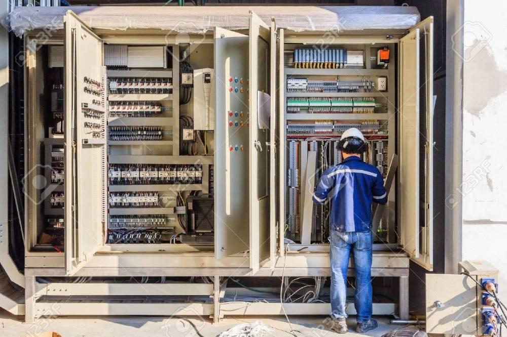 medium resolution of instrument technician on the job check wiring on plc cabinet stock photo 72727658