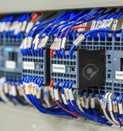 stock photo wiring plc control panel with wires in cabinet for machine industrial factory [ 1300 x 866 Pixel ]