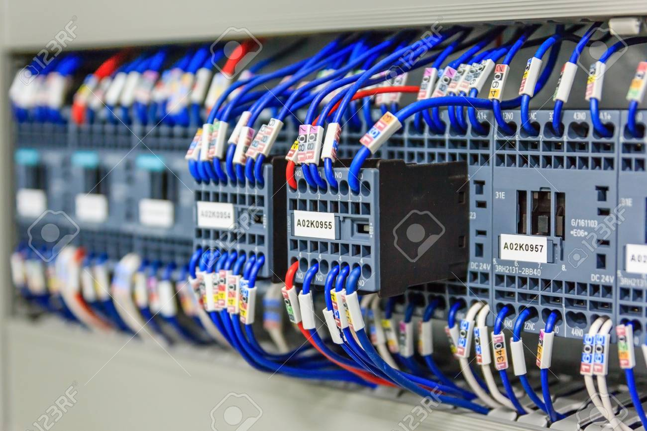 hight resolution of stock photo wiring plc control panel with wires in cabinet for machine industrial factory