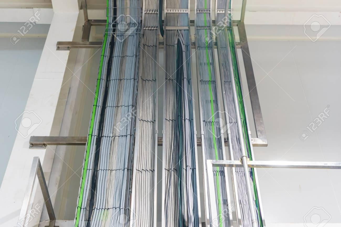 hight resolution of stock photo the electrical wiring of building a cable tray system used to support insulation electrical cables