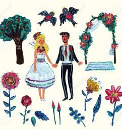 garden wedding clipart with bride groom two swallowes flowers leaves tree and arch isolated elements acrylic hand drawn illustration with some  [ 1300 x 1300 Pixel ]