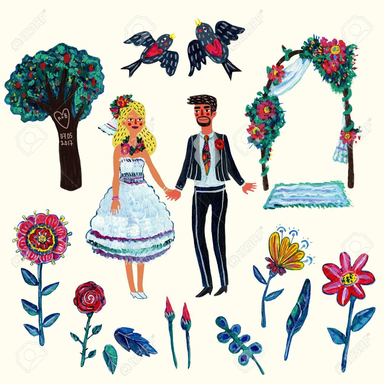 hight resolution of garden wedding clipart with bride groom two swallowes flowers leaves tree and arch isolated elements acrylic hand drawn illustration with some