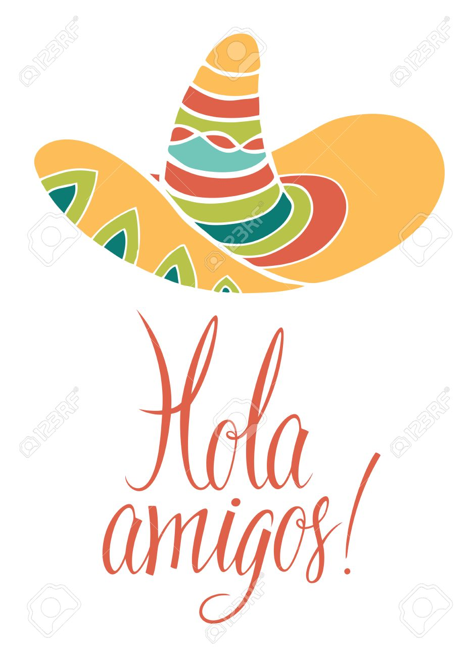 medium resolution of hola amigos design card with calligraphy stock vector 24621560
