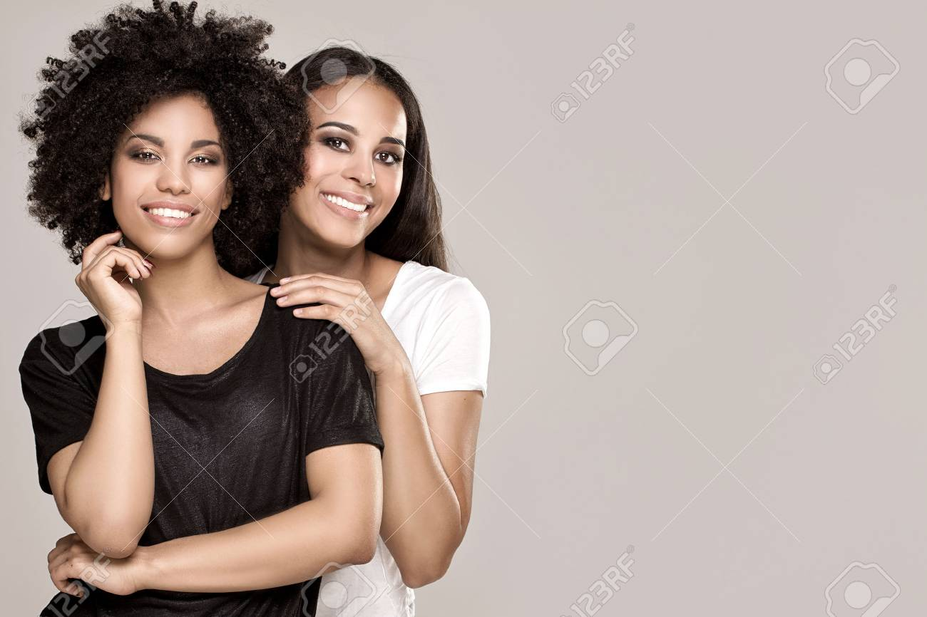 Beauty Photo Of Two Natural Young African American Girls One