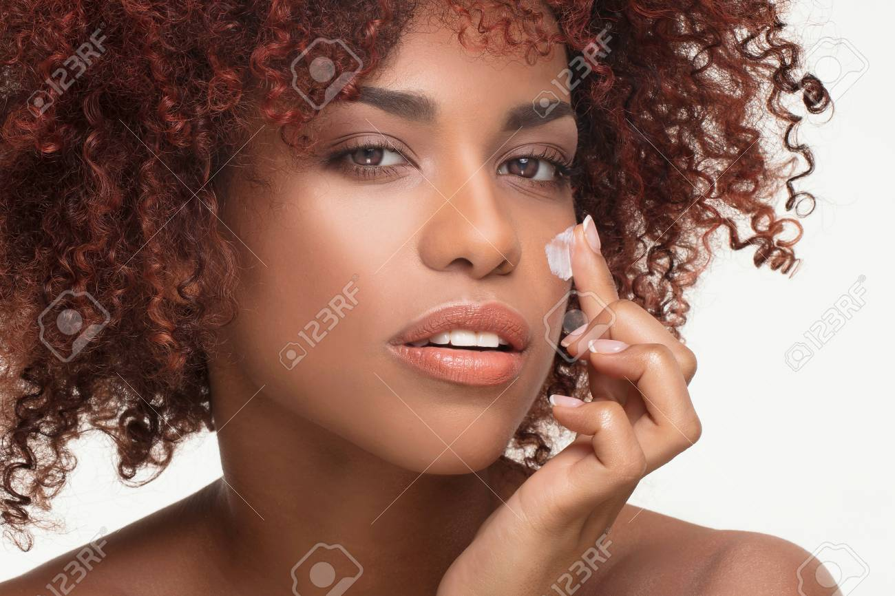 Beauty Portrait Of Natural African American Woman With Afro