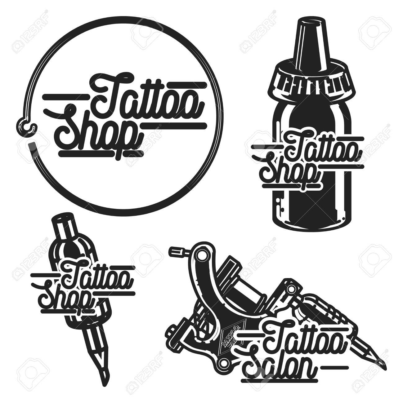 Emblemas De Tienda De Tatuajes Vintage Ilustración Del Vector Eps