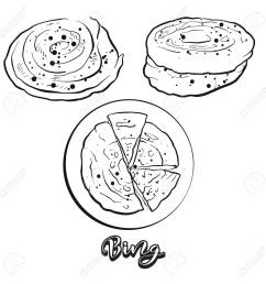hand drawn sketch of bing bread vector drawing of flatbread food usually known in [ 1300 x 1300 Pixel ]