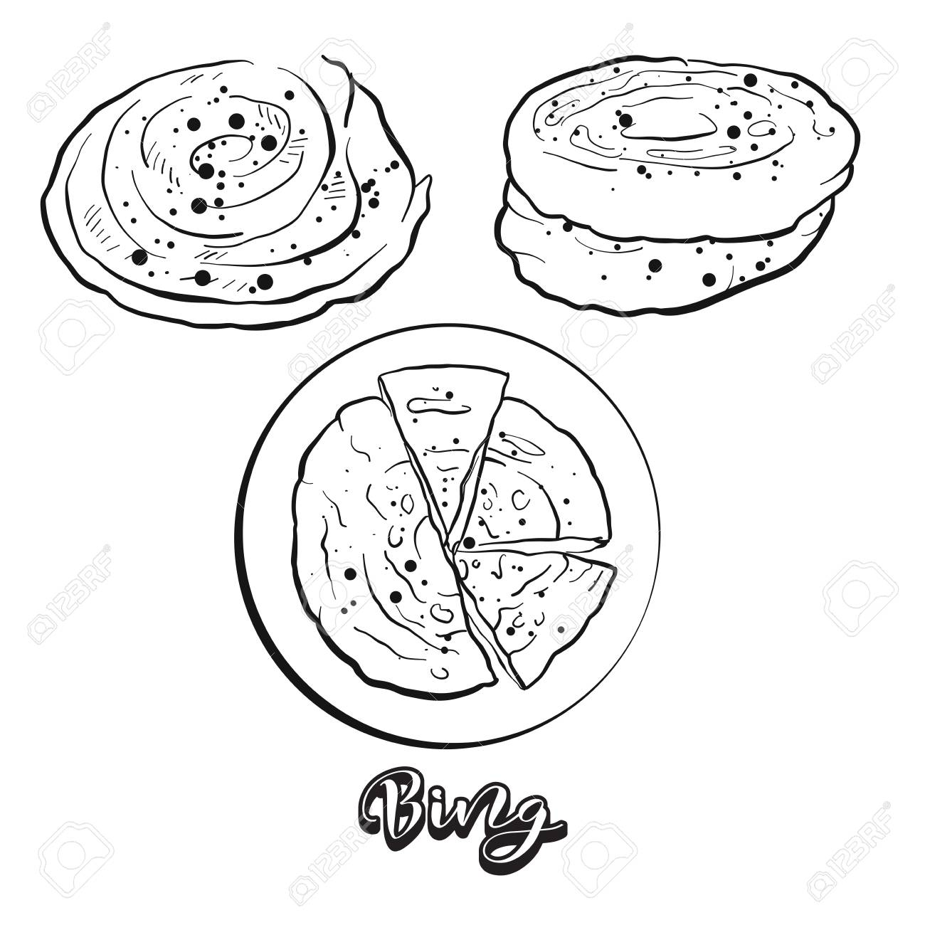 hight resolution of hand drawn sketch of bing bread vector drawing of flatbread food usually known in