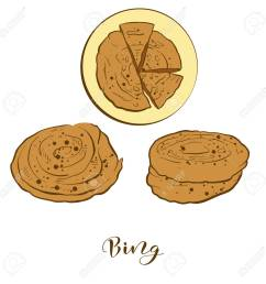 colored sketches of bing bread vector drawing of flatbread food usually known in china [ 1300 x 1300 Pixel ]