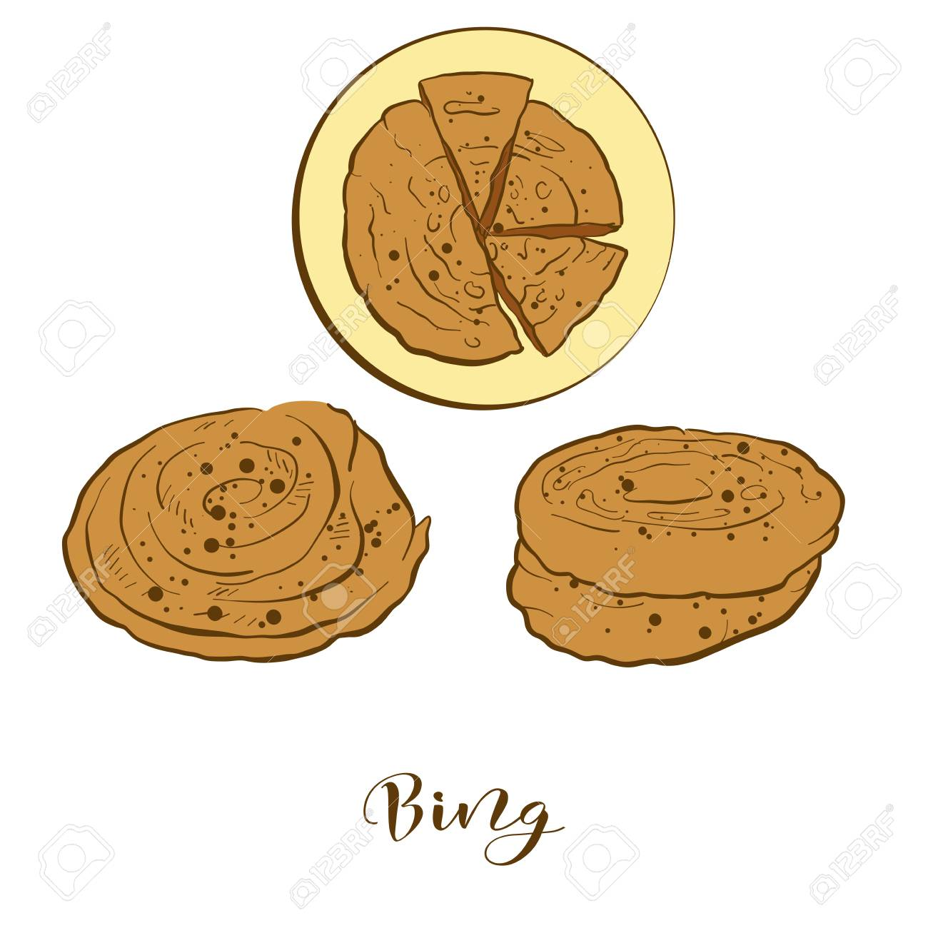 hight resolution of colored sketches of bing bread vector drawing of flatbread food usually known in china